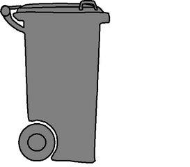 Mülltonne grau - Müll, Mülltonne, Mülltrennung, Anlaut M, Umwelt, Mistkübel, Tonne, Abfalltonne, Abfall, Mist