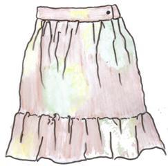 Rock - Rock, jupe, skirt, Kleidung, clothes, vêtements, Kleidungsstück, Bund, Volant, gekräuselt, Anlaut R, Wörter mit ck