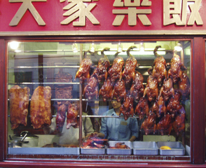 London - Chinatown Imbissbude Enten vom Grill - London, Chinatown, Enten, Imbiss, Großbritannien, Stadtteil