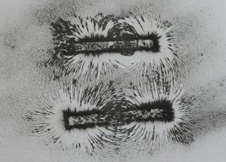 Magnetfeld zweier Stabmagnete #2 - Physik, Magnet, Stabmagnet, Magnetfeld, entgegengerichtet, Feldlinien
