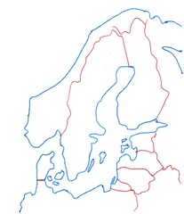 Nordeuropa - Nordeuropa, Umriss, Outline, blanko, Topographie, map