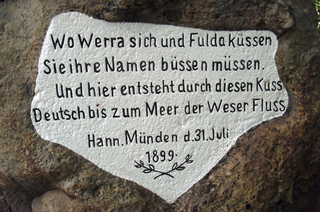 Weserstein 1 - Weser, Werra, Fulda, Weserstein, Hann Münden, Gedenkstein, Süßwasserquarzit, Weserspitze, Inschrift, Schrifttafel, Fluss