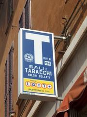 Tabakladen - Hinweisschild, Schild, italiensich, Italien, Tabakladen, Salz, verkaufen, einkaufen, kaufen, Tabak, Ladenschild
