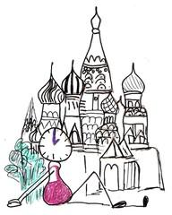 Herr Ticktack auf Reisen#4 - reisen, verreisen, Urlaub, Reise, Uhrzeit, Russland, Moskau, Zwiebelturm