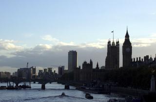 London - Skyline - London, Themse, Skyline, Abend, Tower, Dämmerung