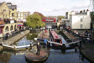Camden Lock - Schleuse - London, Camden Lock, Schleuse, Narrow Boat