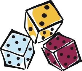 Farbige Würfel - Würfel, drei, Augenzahl, würfeln, spielen