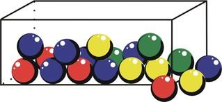 Kugeln im Behälter - Kugeln, Kugel, grün, blau, gelb, Wahrscheinlichkeit, ziehen, rund, Quader, Schachtel, Mathematik