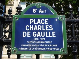 Place Charles de Gaulle Paris - Straßenschild - Place Charles de Gaulle, Place de l'Etoile, Paris, Straßenschild, Platz