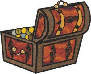 Schatzkiste - Schatzkiste, Schatztruhe, Schatz, Münzen, suchen, finden, Kiste, braun, Abenteuer, Truhe, Kiste, Erzählanlass, Schreibanlass