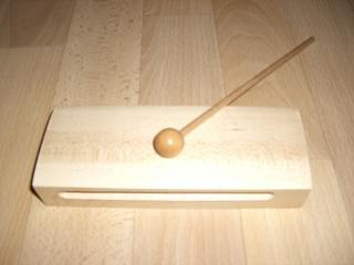Holzblocktrommel - Musik, Instrument, Orff-Instrument, Trommel, Holzstab, Schlägel, Holzschlägel