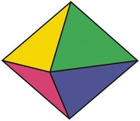 Oktaeder - Würfel, acht, achtseitig, würfeln, farbig, Wahrscheinlichkeit, Zufall, Körper, Polyeder, Doppelpyramide, Pyramide, Dreieck, symmetrisch, Volumen, Oberfläche