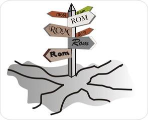 Sprichwörter - bildlich dargestellt - Sprichwort, Redewendung, Umgangssprache, Bedeutung, Bild, bildblich, Wege, führen, Rom