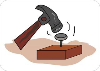 Sprichwörter - bildlich dargestellt - Sprichwort, Redewendung, Bild, bildlich, Nagel, Kopf, treffen, Hammer, hämmern, Verb
