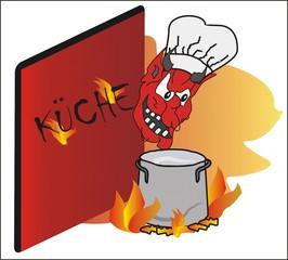Sprichwörter - bildlich dargestellt - Sprichwort, Redewendung, Umgangssprache, Bild, bildlich, Teufel, Küche