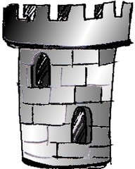 Turm - Gebäude, Turm, Zinnen, Zylinder, rund, Burg, Anlaut T, Halloween, gruselig, grau