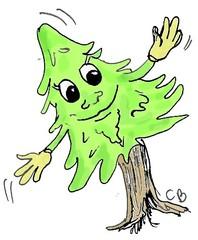 freundlicher Baum #1 - Baum, Natur, Pflanzen, Humor, freundlich, Illustration, Wald, Tanne, Fichte, Nadelbaum, Personifizierung