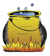 Topf - Topf, Geschirr, Haushalt, Märchen, Kochtopf, Garen, Speisen, Flamme, Feuer, Kessel, Hexenkessel, Wörter mit Doppelkonsonant, Wörter mit x