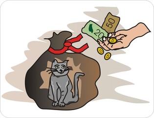 Sprichwörter - bildlich dargestellt - Sprichwort, Redewendung, Umgangssprache, bildlich, Katze, Sack, kaufen