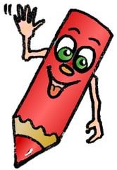 Bleistift - Bleistift, schreiben, Schule, Stift, Farbe, winken, Gesicht, Farbstift, lustig, rot, Illustration
