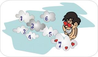 Sprichwörter - bildlich dargestellt - Sprichwort, Redewendung, Umgangssprache, bildlich, Wolke, Sieben, schweben
