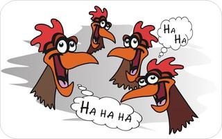 Sprichwörter - bildlich dargestellt - Sprichwort, Redewendung, Umgangssprache, Bild, bildlich, Hühner, lachen