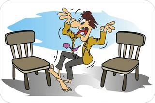 Sprichwörter - bildlich dargestellt - Sprichwort, Redewendung, Umgangssprache, bildlich, zwei, Stühle, sich setzen