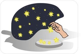 Sprichwörter - bildlich dargestellt - Sprichwort, Redewendung, Umgangssprache, bildlich, Sterne, Himmel, holen