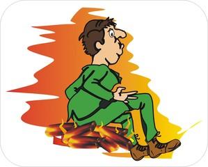 Sprichwörter - bildlich dargestellt - Sprichwort, Redewendung, Umgangssprache, bildlich, glühend, Kohlen, sitzen