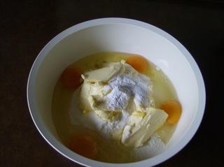 Nougatkuchen #1 - Kuchen, backen, Zutaten, Mehl, Eier, Zucker, Butter, Backpulver, Schüssel, rühren, Teig, Masse, Gugelhupf
