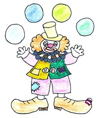 Clown - bunt - Clown, jonglieren, werfen, fangen, Spaß, Sport, Illustration, bunt, Fasching, Karneval, lustig, fröhlich