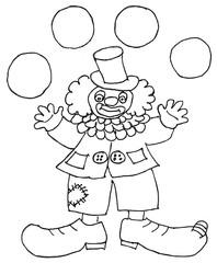 Clown schwarz -weiß - Clown, jonglieren, werfen, fangen, Spaß, Sport, Illustration, malen, ausmalen, Fasching, Karneval, Anlaut C, Späße