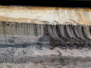 Erdschichten in Garzweiler - Braunkohle, Erdschichten, Schichten, Sand, Boden, Geologie, Geographie, Tagebau, Kohle, Kohlenstoff, Chemie, Fundhorizont