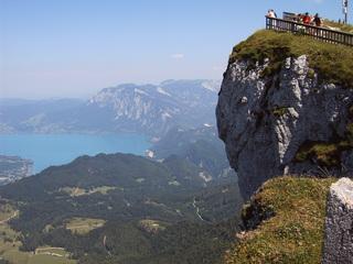 Blick vom Schafberg - Österreich, Salzkammergut, Schafberg, Attersee, Felsen, Aussichtsplattform, Berg