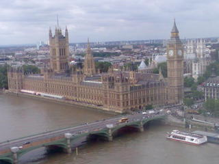 Westminster Palace mit Big Ben - London Eye, Fahrgastkabine, Houses of Parliament, London, Themse, River Thames, Westminster Bridge, Big Ben, Victoria Tower, parliament, House of Commons, House of Lords
