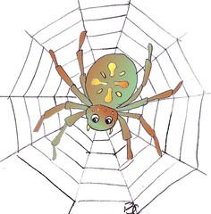 Spinne - Spinne, Netz, Spinnennetz, Halloween, gruseln, gruselig, Anlaut Sp