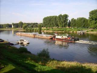 Schubeinheit auf der Elbe - Schiff, Schifffahrt, Massengut, Massenguttransporter, Schubeinheit, Elbe, Schubboot, Schieber, Schuber, Binnenschifffahrt