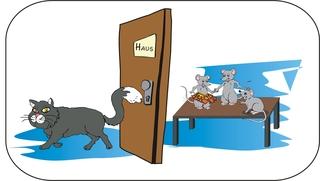 Sprichwörter - bildlich dargestellt - Sprichwort, Redewendung, Umgangssprache, bildlich, Katze, Haus, Mäuse, tanzen