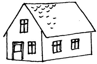 Haus - Haus, Tür, Fenster, Dach, wohnen, Anlaut H