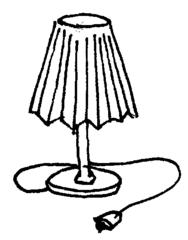 Lampe - Lampe, Tischlampe, Lampenschirm, Kabel, Stecker, Anlaut L, Elektrogerät