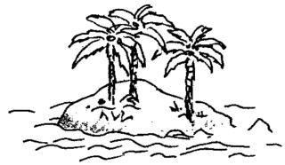 Insel - Insel, Palmen, Land, Wasser, Landmasse, Illustration, Anlaut I