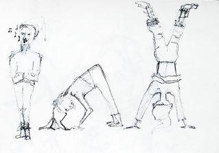 Zwerge #1 - Zwerge, Bewegung, Kopfstand, Purzelbaum, singen, Skizze, Handstand, Menschzeichnung, Wichtel, Bewegungsstudie