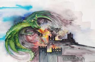 Drache - Drache, Burg, Feuer speiend, Aquarell, Märchen, Mythen, Schreibanlass, Illustration