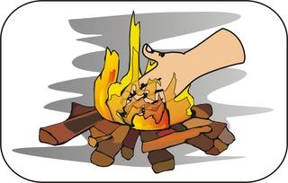 Sprichwörter - bildlich dargestellt - Sprichwort, Redewendung, Umgangssprache, bildlich, Hand, Feuer, legen, Wörter mit eu