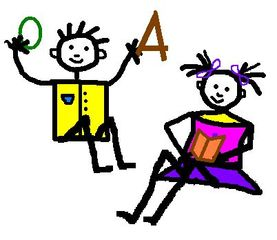 Kinderzeichnung Thema Deutsch - Kinder, Zeichnung, Strichzeichnung, Gestaltung, Deutsch, lesen, spielen, Anlaut K, Anlaut L, Verb, Illustration, Junge, Mädchen