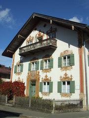Oberammergau - Lüftelmalerei, Oberammergau, Bayern, Architektur, illusionistisch, Fassadenmalerei, Freskotechnik