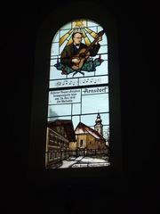 Franz-Xaver-Gruber-Fenster - Franz Xaver Gruber, Weihnachtslied, Weihnachten, Kapelle, Fenster, Bleiverglasung, Kirchenfenster