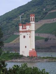 Binger Mäuseturm - Mäuseturm, Bingen, Sage, Legende, Rheinromantik, Wachturm, Signalturm, Binger Loch, Grenzmarke, Rheinprovinz, Rheinland-Pfalz, Wehrturm, Mäuseturminsel, Turm