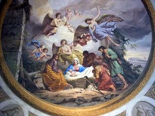 Deckengemälde: Weihnachten - Geburt Jesu, Jesu Geburt, Jesus, Gebrut, Weihnachten, Krippe, Maria, Josef, Engel, Hirten, Kirche, Gemälde, Deckengemälde