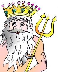 Neptun - Neptun, Wasser, König, Wassermann, Triton, Dreizack, Märchen, Mythologie, Sage, Märchenfigur, Sagenfigur, Illustration